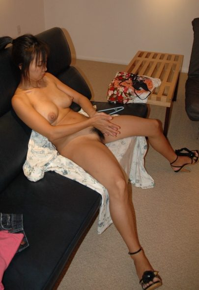 Hairy Asian Wife on Couch