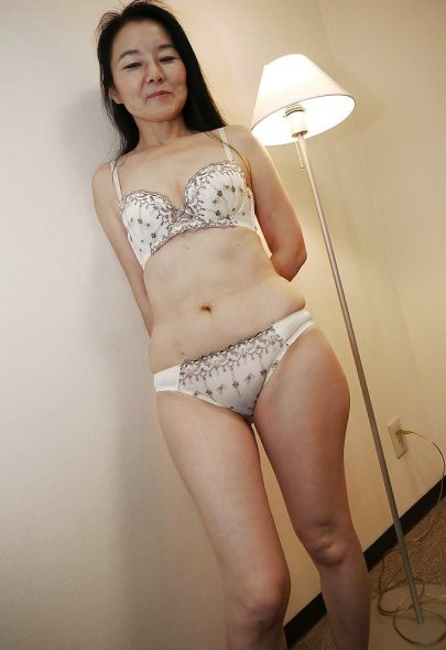 Shy Asian GILF posing in her underwear